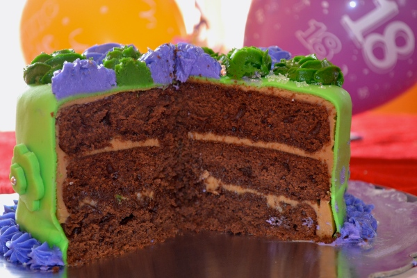 Triple-layer chocolate cake with caramel frosting